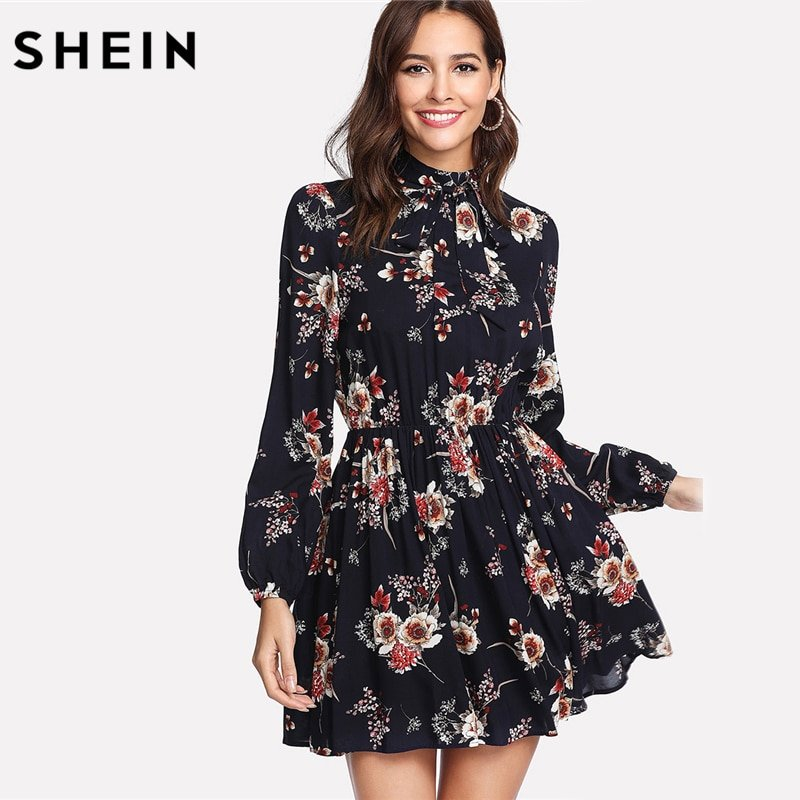 9ba190def857 SHEIN Autumn Floral Women's Dresses , Neck Dress - Folk's Go - Online Store  for Men's and Women's Clothing & Accessories