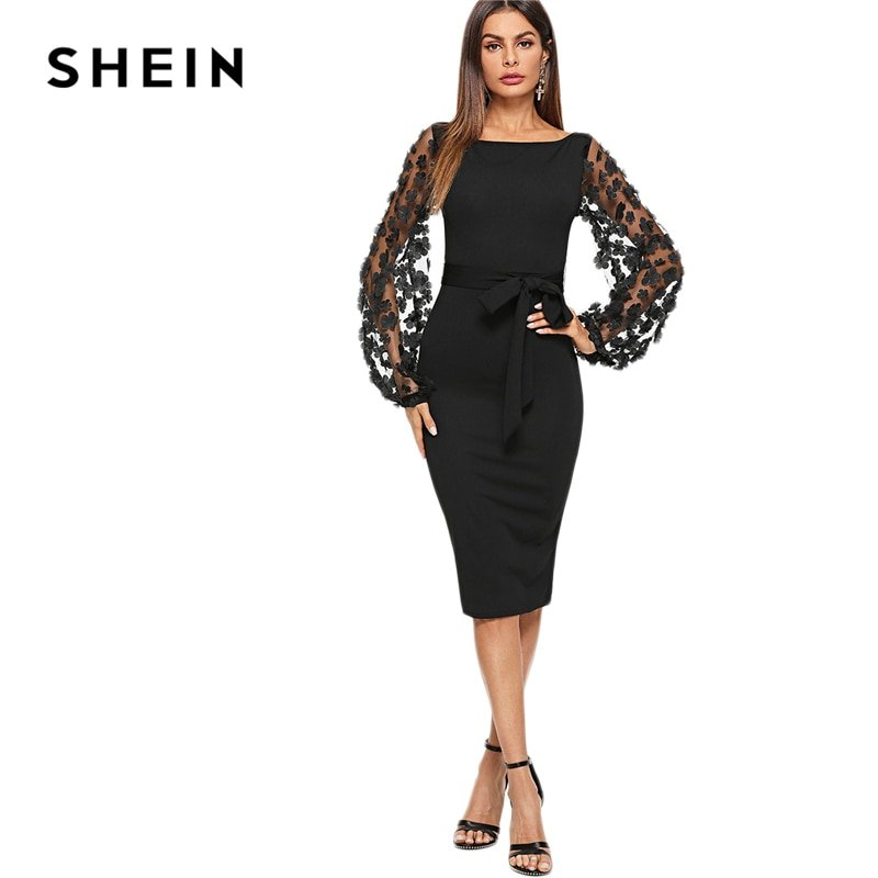 e51599419b SHEIN Black Party Elegant Flower Applique Contrast Mesh Sleeve Women Dresses  - Folk's Go - Online Store for Men's and Women's Clothing & Accessories